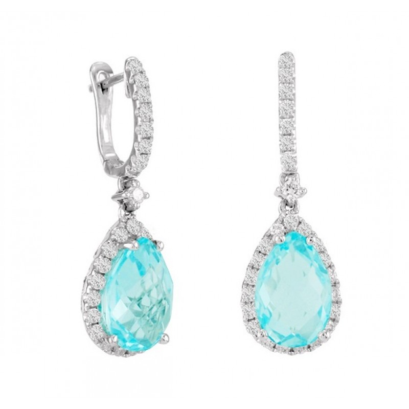 Aquamarine and Diamond Drop Earrings 23475