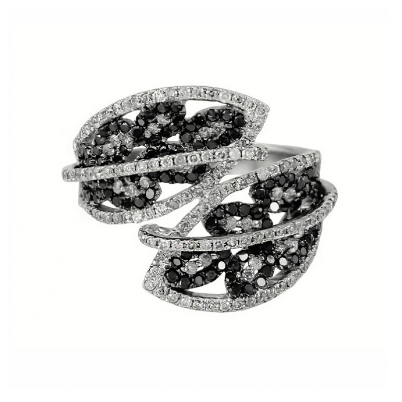 Black and White Diamond Bypass Ring 27904