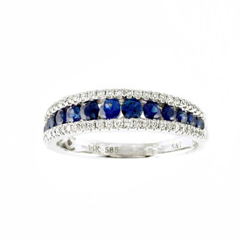 Channel Set Sapphire and Diamond Ring 27654