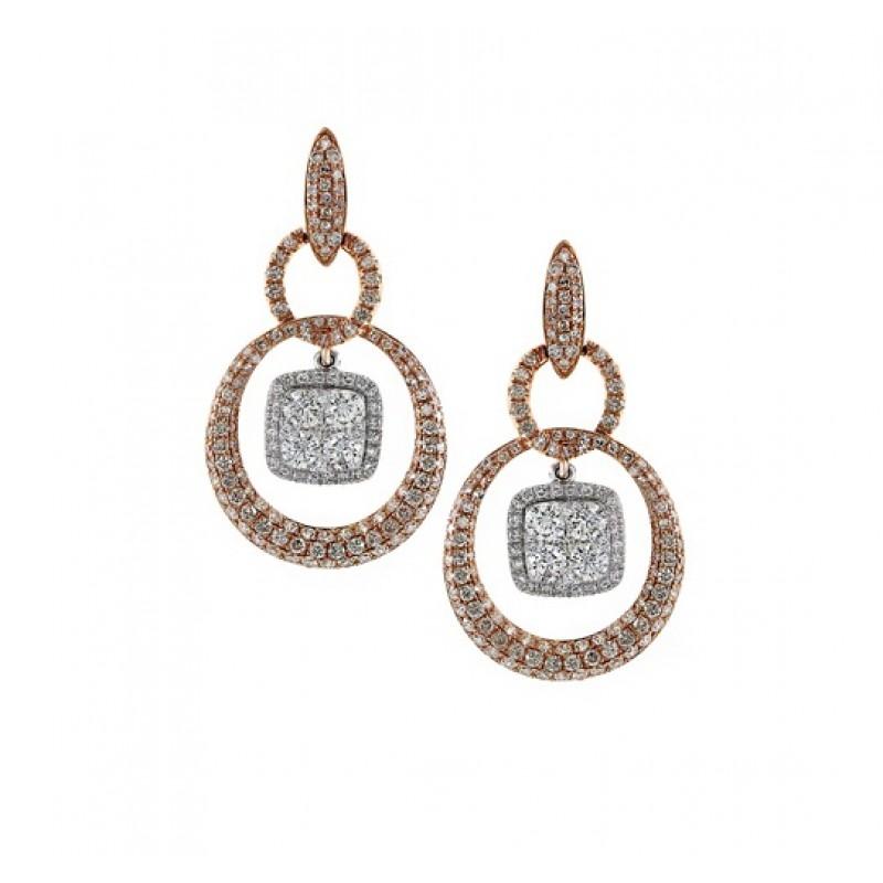 Diamond Cluster Drop Earrings 27921