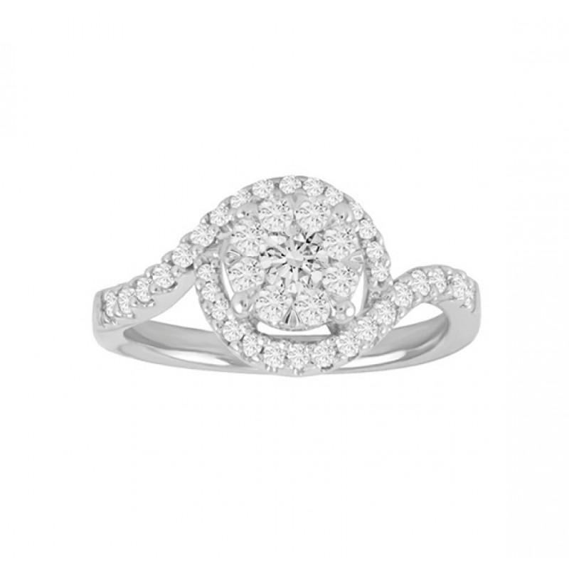 Diamond Cluster Engagement Ring 25135