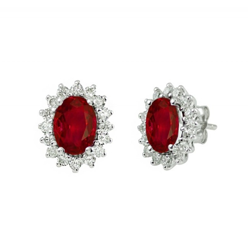 Oval Ruby and Diamond Earrings 27532