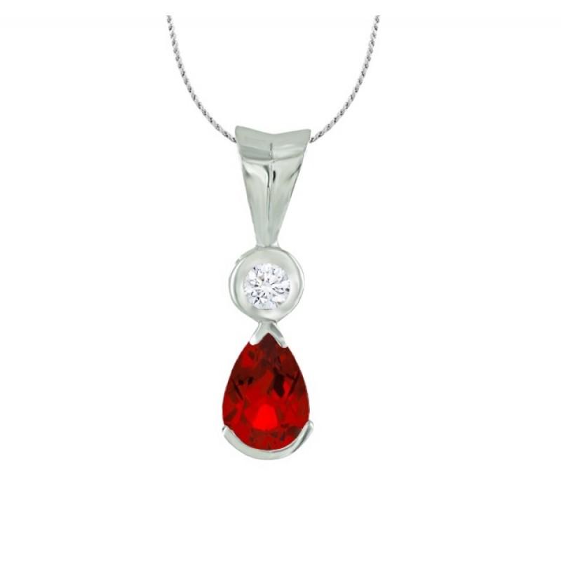 Pear Shape Ruby and Diamond Pendant 27527