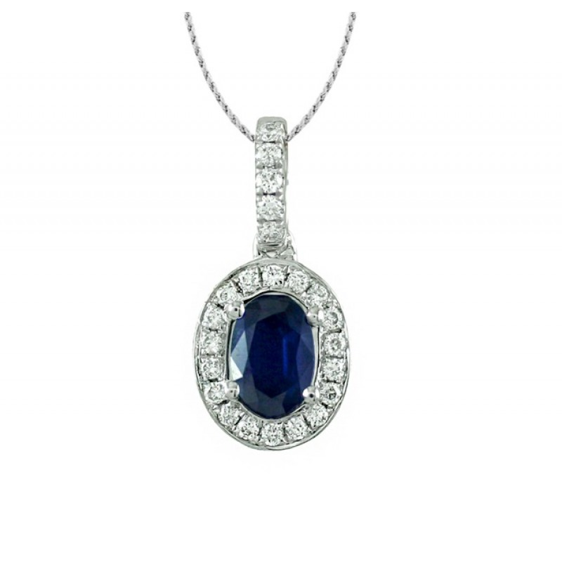 Sapphire and Diamond Halo Pendant 27529