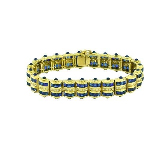 Cabochon Sapphire and Diamond Bracelet 24365