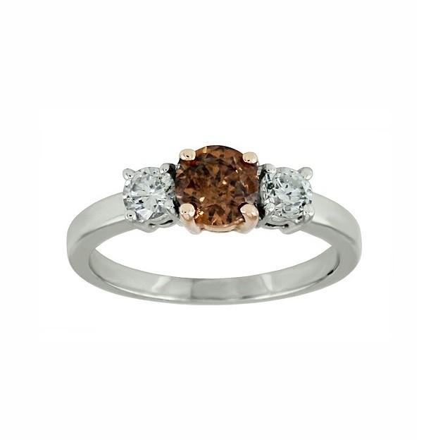 Chocolate and White Diamond Three Stone Ring 28545