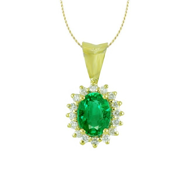 Emerald and Diamond Floral Pendant 27525