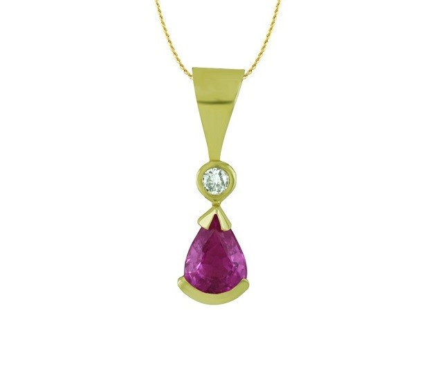 Pear Shape Pink Sapphire and Diamond Pendant 17262