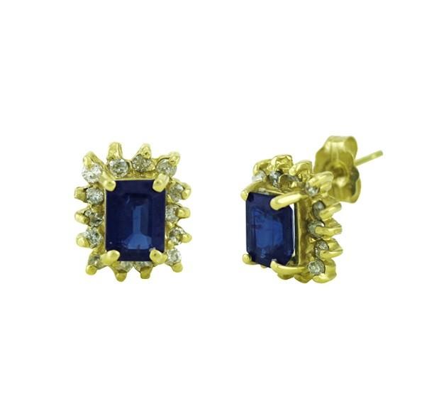 Rectangular Shape Sapphire and Diamond Earrings 18779