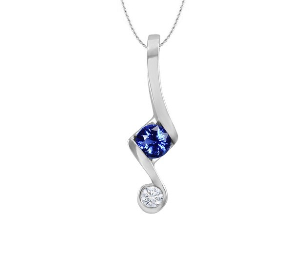 Sapphire and Diamond Push Present Pendant 24269