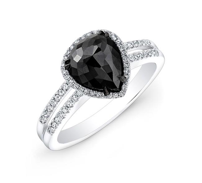 Split Shank Black and White Diamond Halo Engagement Ring 25408