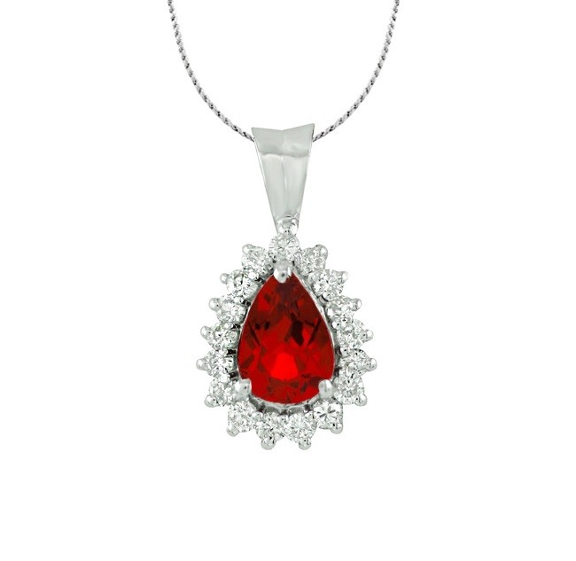 Teardrop Shape Ruby and Diamond Pendant 27526