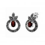Garnet and Marcasite Earrings 23928