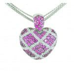 Pink Sapphire and Diamond Heart Necklace 14271