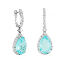Aquamarine and Diamond Drop Earrings 23475