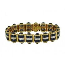 Baguette and Cabochon Sapphire and Diamond Bracelet 14628