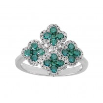 Blue and White Diamond Cluster Ring 25387