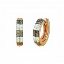 Chocolate and White Diamond Huggie Earrings 25112