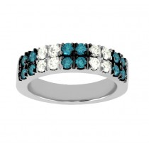 Double Row Blue and White Diamond Ring 25990