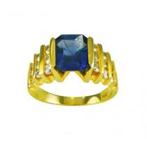 Emerald Cut Blue Sapphire and Diamond Ring 17082