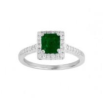 Emerald Cut Emerald and Diamond Ring 23744