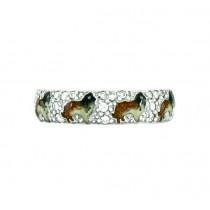 Hidalgo Enamel Collie Dogs Ring RS7970WG