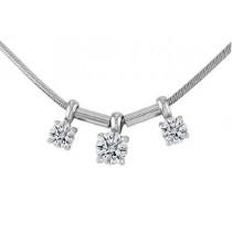 Lazare Platinum Three Stone Diamond Necklace LJC00842P