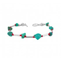 Nugget Turquoise and Coral Bracelet 25228