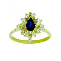 Pear Shape Sapphire and Diamond Ring 22695