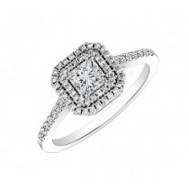 Princess Cut Diamond Double Halo Ring 23443