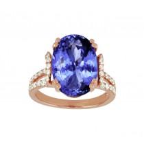 Split Shank Oval Tanzanite and Diamond Ring Top 24291