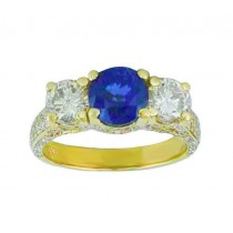 Three Stone Sapphire and Diamond Ring Top 10152