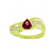 Trillion Cut Rhodolite Garnet and Diamond Ring 23645
