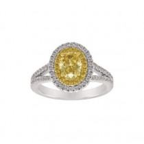 Yellow and White Diamond Halo Ring Top 23979