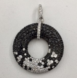 Black and White Diamond Circle Pendant 28849