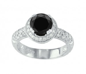 Black and White Diamond Halo Engagement Ring Top 10676