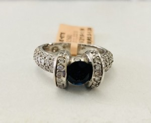 Blue Sapphire and Diamond Ring 24361