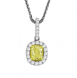 Cushion Cut Fancy Yellow Diamond Pendant 22504