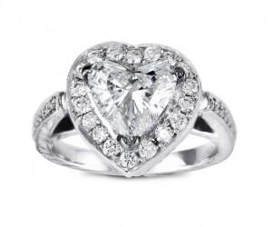 Heart Shape Diamond Halo Ring Top 10615