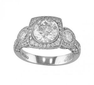 JB Star Three Stone Diamond Halo Ring Top 1420-014