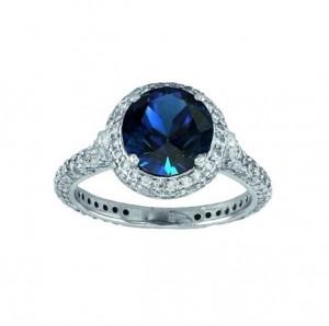 Martin Flyer Sapphire and Diamond Ring Top 5211SERPL
