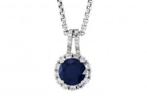 Sapphire and Diamond Halo Pendant 23472