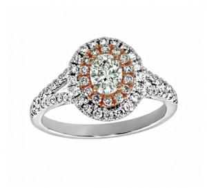 Split Shank Diamond Halo Engagement Ring 25757