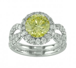 Split Shank Yellow and White Diamond Ring Top 18795