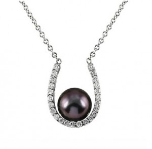 Tahitian Black Pearl and Diamond Horseshoe Necklace 21419