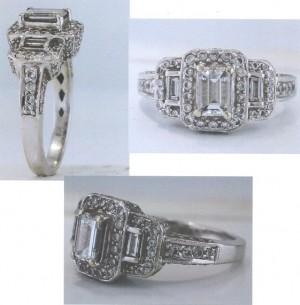Three Stone Diamond Halo Engagement Ring 23661
