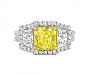 Three Stone Natural Yellow and White Diamond Ring Top 25980-25978