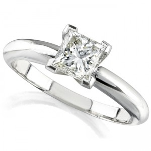 14k White Gold 3/8 Ct. Solitaire Princess Cut Diamond Ring