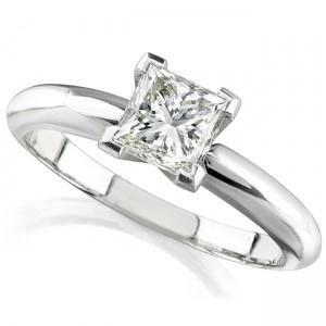14k White Gold 3/5 Ct. Solitaire Princess Cut Diamond Ring