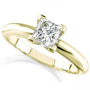 14k Yellow Gold 1/3 Ct. Solitaire Princess Cut Diamond Ring